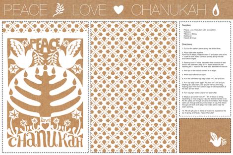 Peace Love  Chanukah | DIY Judaica fabric by vickykatzman on Spoonflower - custom fabric