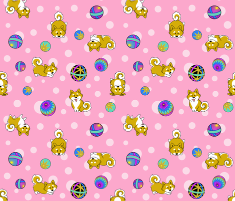 Shiba Inu and Temari Balls - pink flavor fabric by bliss_and_kittens on Spoonflower - custom fabric