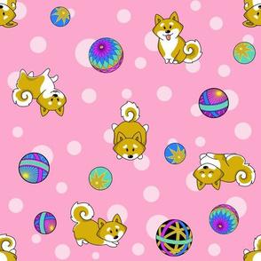 Shiba Inu and Temari Balls - pink flavor