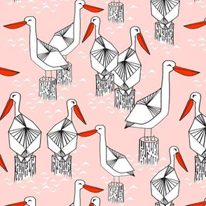 pelicans // nautical summer pink ocean seaside summer cute girls bird