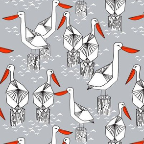 pelicans // nautical grey ocean sweet birds summer ocean nautical preppy