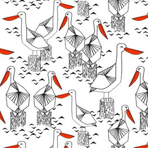 pelicans // ocean water nautical summer bird white