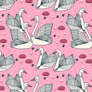 swan // girls pink origami geometric swan lily pad girls sweet pink swans