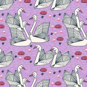 swans // purple lilac swans girls sweet water lily origami swans