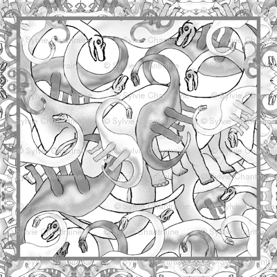 DINOSAURS BRIGHT PSYCHEDELIC black and white grey