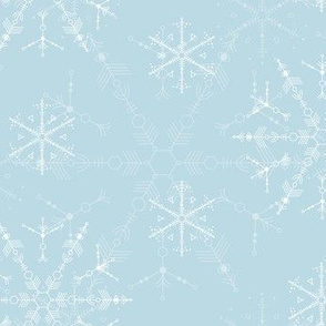 Cosmic Snowflakes on pale blue