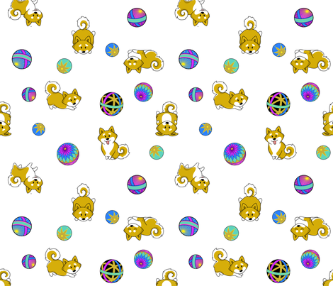 Shiba Inu and Temari Balls - white flavor fabric by bliss_and_kittens on Spoonflower - custom fabric