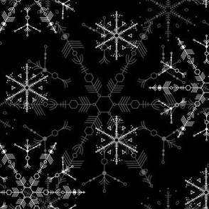 Cosmic Snowflakes - black & white