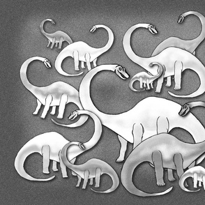 DINOSAURS ARE SO CUTE PILLOW PANEL Black and White Grey