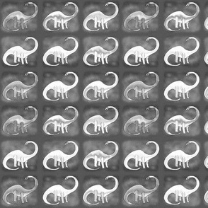 DINOSAURS BRIGHT SQUARE small Black and White Grey