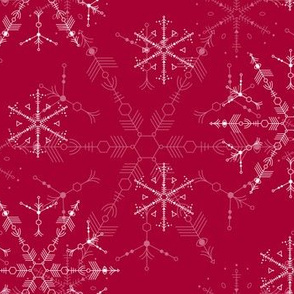 Cosmic Snowflakes  on red