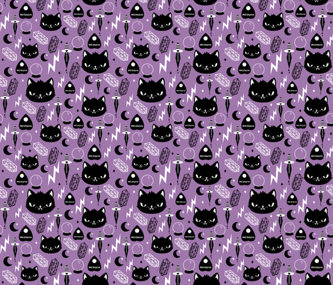 Cat Magic fabric by emandsprout on Spoonflower - custom fabric