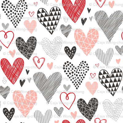 Hearts Geometrical Love Valentine Black&White Red Pink