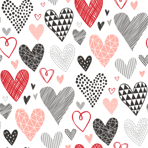 Hearts Geometrical Love Valentine Black&White Red Pink fabric by caja_design on Spoonflower - custom fabric