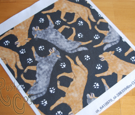Trotting Australian Cattle Dogs and paw prints - black