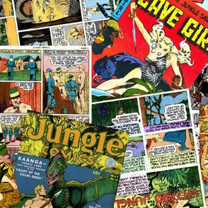 vintage comic book jungle - LARGE PRINT