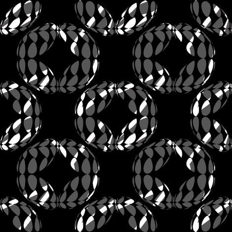 Strung (Dark Gray on Black) fabric by david_kent_collections on Spoonflower - custom fabric