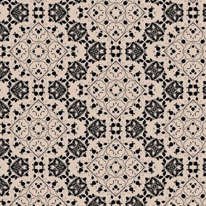 Abstract Floral Elements in Black over Tan