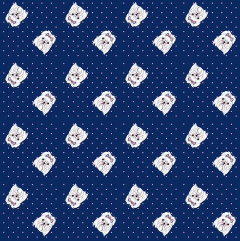 Maltese dog with blue background fabric by jo_chambers on Spoonflower - custom fabric