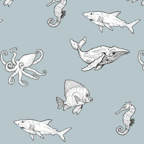Black and White Ocean Creatures on Blue-Grey Background