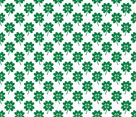 lucky clover four leaf clover st patricks day cute kids green and white  fabric by charlottewinter on Spoonflower - custom fabric