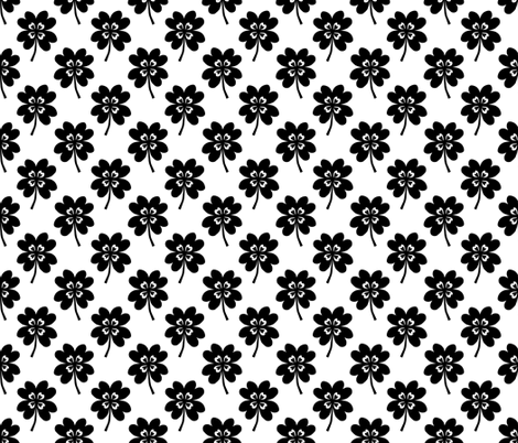 lucky clover black and white four leaf clover st patricks day fabric by charlottewinter on Spoonflower - custom fabric
