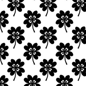lucky clover black and white four leaf clover st patricks day