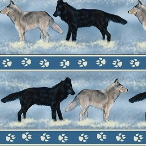 Gray Wolves in Snow Stripe