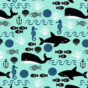 ocean whales shark summer fish ocean water anchor nautical mint navy blue boys nursery kids