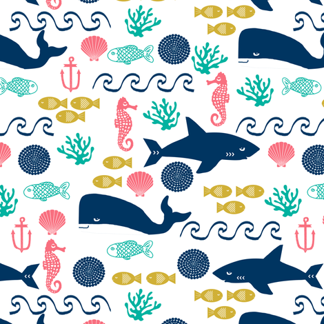 ocean water sea fish seahorse shell beach wave anchor kids baby nursery sharks fabric by charlottewinter on Spoonflower - custom fabric
