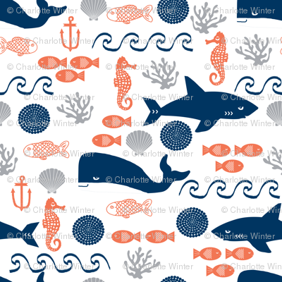 ocean boys orange navy grey kids shark water beach ocean whales fish
