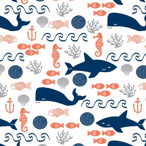 ocean boys orange navy grey kids shark water beach ocean whales fish  fabric by charlottewinter on Spoonflower - custom fabric