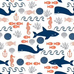 ocean boys orange navy grey kids shark water beach ocean whales fish