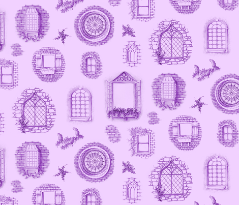 Purple Window Toile fabric by blairfully_made on Spoonflower - custom fabric