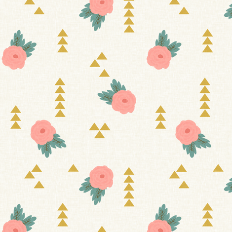 Rustic Charm Floral Geometric Mini fabric by willowlanetextiles on Spoonflower - custom fabric