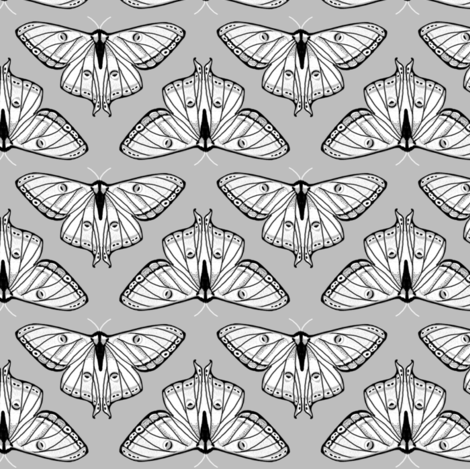 moth // luna moth grey black and white spring moths lepidoptery butterfly butterflies fabric by andrea_lauren on Spoonflower - custom fabric