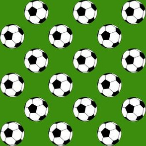 One Inch Black and White Soccer Balls on Apple Green
