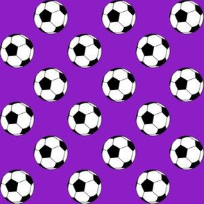 One Inch Black and White Soccer Balls on Purple