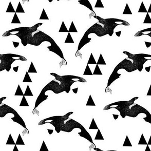 orca // orca whale whales cute ocean animals kids black and white print with triangles geo animal andrea lauren