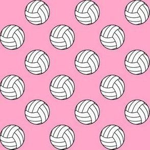 One Inch Black and White Sports Volleyball Balls on Carnation Pink