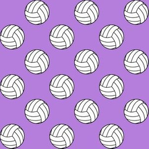 One Inch Black and White Sports Volleyball Balls on Lavender Purple