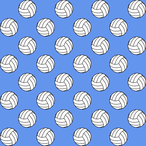 One Inch Black and White Sports Volleyball Balls on Cornflower Blue fabric by mtothefifthpower on Spoonflower - custom fabric