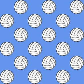 One Inch Black and White Sports Volleyball Balls on Cornflower Blue