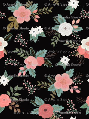 Floral Bouquets in Black