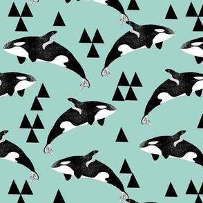 orca whale // orca whales mint green sweet ocean animals cetacean whale pod andrea lauren