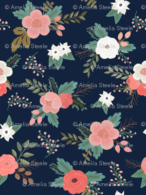 Sweet Bouquets in Navy and Coral