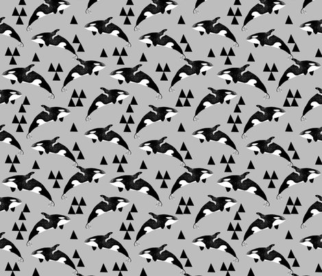 orca whales // whale whales ocean animals grey kids neutral baby quilt crib bedding sweet whale fabric by andrea lauren fabric by andrea_lauren on Spoonflower - custom fabric
