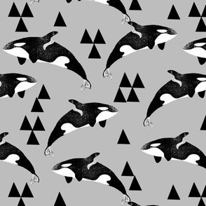 orca whales // whale whales ocean animals grey kids neutral baby quilt crib bedding sweet whale fabric by andrea lauren