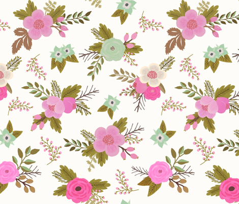 Sweet Bouquets in Pink and Mint fabric by willowlanetextiles on Spoonflower - custom fabric