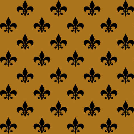 One Inch Black Fleur-de-lis on Matte Antique Gold fabric by mtothefifthpower on Spoonflower - custom fabric